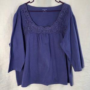 Croft Barrow Plus Size 3X Top Purple Crochet 548